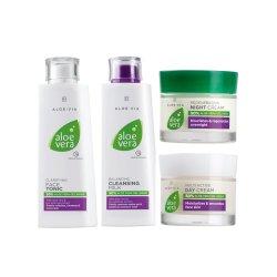 LR Aloe Vera Gesichtspflege Basis-Set Tagescreme 50ml, Nachtcreme 50ml, Gesichtswasser 200ml, Reinigungsmilch 200ml