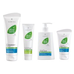 LR Aloe Vera Basic Set Cremeseife 250ml, Handcreme 75ml, Zahngel 100ml, Haar & Körpershampoo 250ml