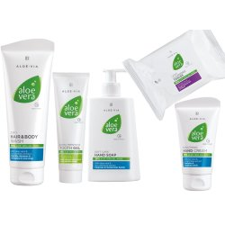LR Aloe Vera Basic Set 25 Reinigungstücher, Cremeseite 250ml, Handcreme 75ml, Zahngel 100ml, Haar & Körpershampoo 250ml