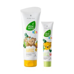 LR Aloe VIA Aloe Vera Kids 3in1 Duschgel, Shampoo & Spülung 250ml + Kids Magisch Glitzerndes Zahngel 50ml